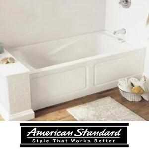 "NEW AS EVERCLEAN 5 FT. TUB W/APRON - 114634803 - AMERICAN STANDARD RIGHT DRAIN WHITE 5' FT. x 32"" IN. BATHROOM BATH T..."