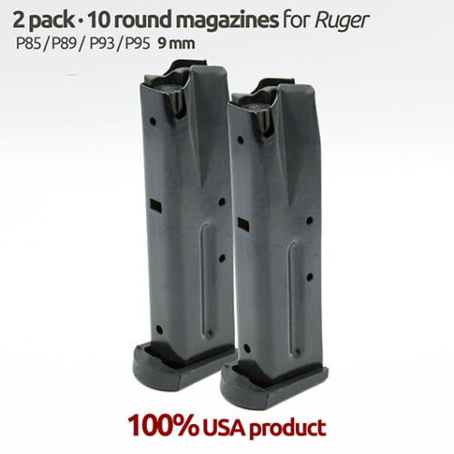 2 Magazines for Ruger P85,P89,P95,P93 9MM 10 Rounds Blue Steel