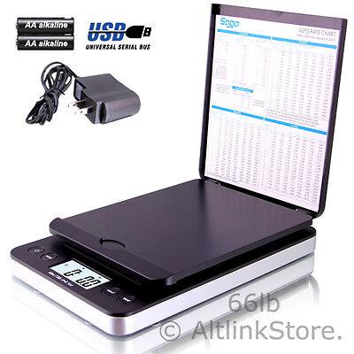 SAGA postal scale 66lb x 0.1oz digital shipping scale weight postage w/AC in USB
