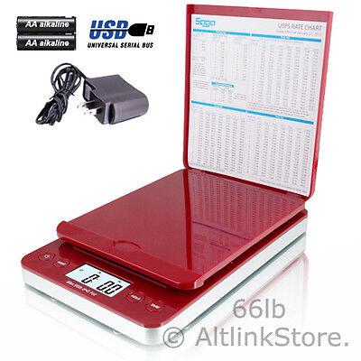 Saga Postal Scale 66lb X 0.1oz Digital Shipping Scale Postage Ac Usb All In One