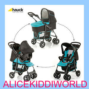 Hauck-3in1-shopper-pushchair-buggy-pram-carseat-carrycot-Petrol-turquoise-Blue