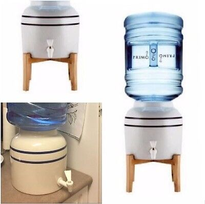 Ceramic Water Dispenser Cooler With Wooden Stand 3 5 Gallon Bottle Holder Faucet