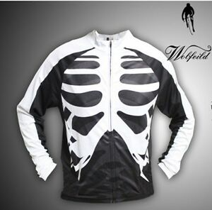 Mens-Long-Sleeve-Bones-Cycling-Jersey-Bicycle-Skeleton-Shirt-Cycle-Wear-M-3XL