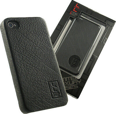 NEW LIMITED LUXURY HARD CASE WITH GENUINE BLACK LEATHER FOR APPLE iPHONE 4S 4 comprar usado  Enviando para Brazil