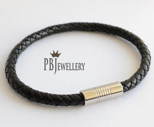 6mm Mens Genuine Leather Braided Wristband Bracelet Stainless Steel Clasp