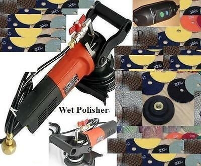 Variable Speed Concrete Cement Wet Polisher Grinder Diamond Pad Set Granite