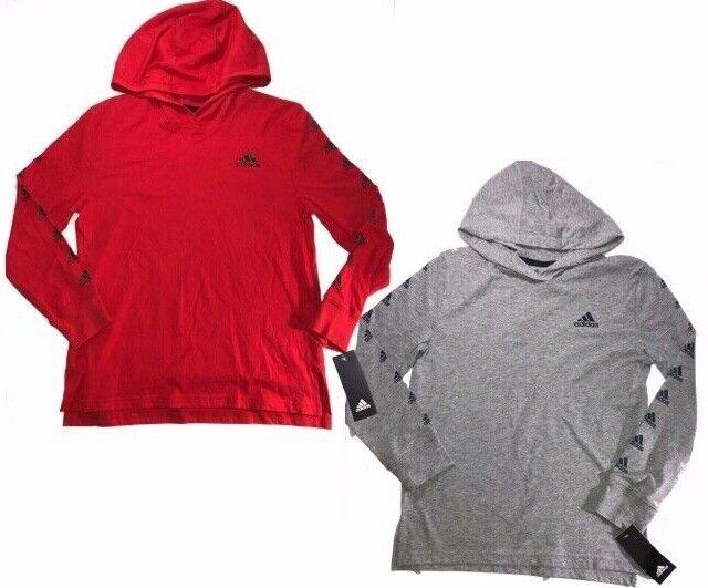 NWT Big Boys Adidas Long Sleeve Hooded Shirt - Red or Grey