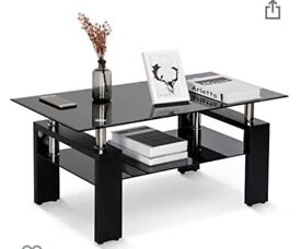 Leisure Zone Tempered Glass Chrome Living Room Coffee Table, Black plus a same style shelf -like new