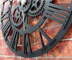 Modern Skeleton Clock Large Round Metal Color Wall Vintage Steampunk Home Decor