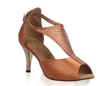 New women's Dark skin Latin dance shoes Hot drilling Electroplating Soft outsole