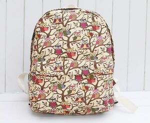 Canvas Retro Owl Print Shoulder Satchel Magnetic Messenger School Bag Backpack
