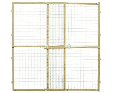 Wood Pet Safety Gate 44 Inches Tall Pressure Mounted Wire Me