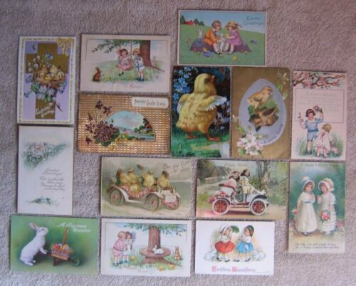 14 Antique EASTER POSTCARDS POST CARD Anthropomorphic Chicks Bunnies Bunny