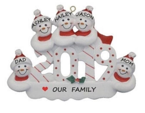 Personalized 2019 Snowman Family of 5 Christmas Ornament