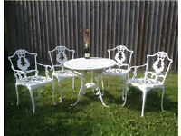 Cast Aluminium Table 4 Chairs Metal Bistro Furniture Set