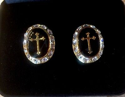 Gold Black Onyx Cufflinks - Men's Designer 14KT Gold Ep Black Onyx Enamel Cross & Rhinestone Cuff Links