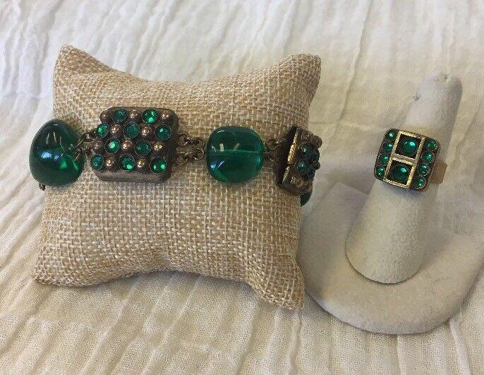 French Henry Perichon Vintage Brass Metal Bracelet & Ring Green Glass