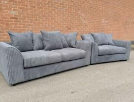 BRAND NEW 3 & 2 SEATER SOFA SET IN JUMBO CORD INC FREE DELIVERY