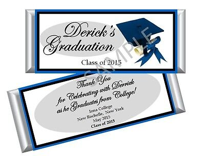 College Graduation Party Favors (Graduation Blue Candy Bar Wrappers/ Party Favors - High School/College - Set)