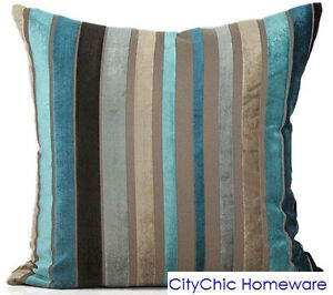 45cm x 45cm TB328 Velvet Strip Cushion Cover TURQUOISE/GREY