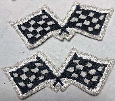 NOS Checkered Racing Flags Embroidered Patch Lot Of 2 High Quality - Checkered Racing