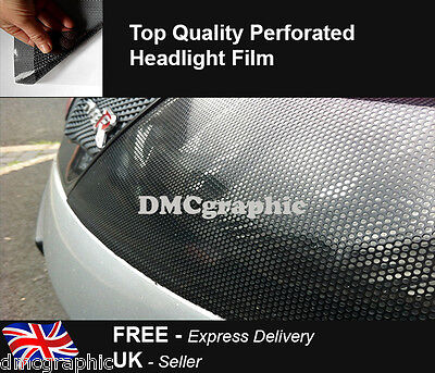35x106cm Perforated Car Window Fly Eye Headlight Film Mesh One Way Vision Wrap
