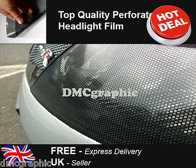 30x106cm Perforated Fly Eye Headlight Tint Mesh Film Car Window Mesh MOT Legal