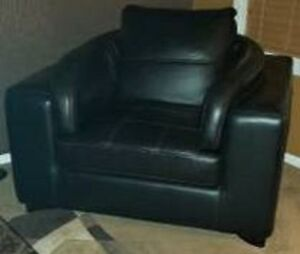 Genuine Black Leather Couch - Mint Condition