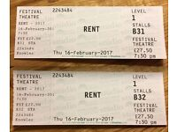 RENT the Musical - 2 Tickets - Thursday 16th February - Edinburgh Festival Theatre