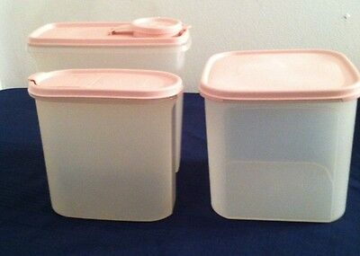 Lot Three Tupperware Modular Mates Pastel Pink Lids Cereal 1613 1621 7.25c 17c