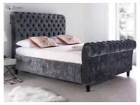 New Grand Crushed Velvet Sleigh Bed