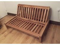 Fantastic solid oak 'Linear' frame/futon/ sofa bed with mattress and cover, all Futon company