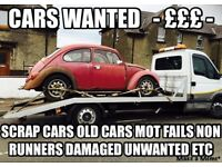 SCRAP CARS WANTED. ££ paid, mot failure, non runner, old, damaged