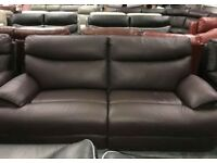 La-Z-Boy brown leather 3 and 2 seater sofa electric recliner