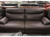 La Z Boy brown leather recliner 3 seater and 2 seater sofa