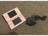 Pink Nintendo DS Lite with Charger & Game