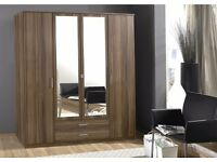 **7-DAY MONEY BACK GUARANTEE!**GERMAN 4 Door or 3 Door Wardrobe in White or Walnut - SAME DAY!
