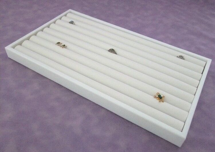 8 ROW RING DISPLAY WHITE TRAY WITH WHITE INSERT FOR 110+ RINGS