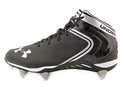 c07839ef9 Men s UNDER ARMOUR Saber Mid D Black Silver Football Cleats  1235875-001-size 9.5