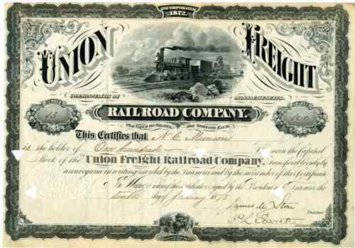 1873 Union Freight RR Stock Certificate