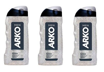 3x Arko Men Shower Gel Duschgel Shampoo Platinum 250ml Herren Pflege