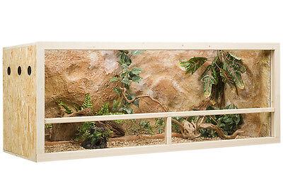 Holz Terrarium 150 x 60 x 60 cm aus OSB Platte, SeitenbelüftungJETZT NEU - MIT KUNSTSTOFF-GLASFÜHRUNGSSCHIENEN