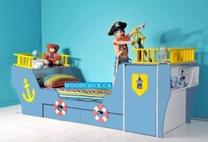 ♥‿♥ *** PIRATE SHIP TWIN BED with WARDROBE *** ♥‿♥