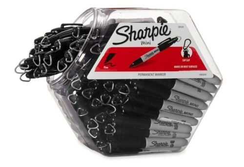 Sharpie Permanent Mini Markers, Fine Point, Black, 72-Pack Canister
