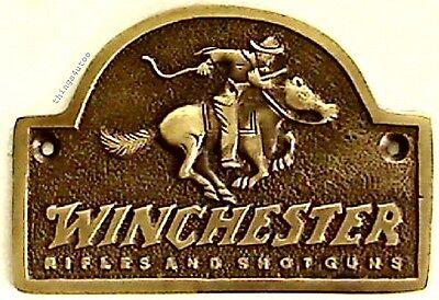 Winchester Rifles and Shotguns brass store plaque sign #E617