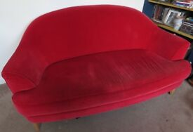 Marks and Spencer Conran Red Velvet Sofa