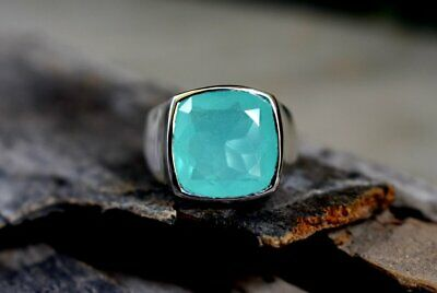 Chalcedony Faceted Cushion (Cushion Faceted Pink Chalcedony Gemstone Sterling silver Men's Ring)