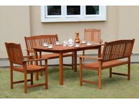 Garden Furniture: 5 piece patio set, with table, 2 chairs, 2 benches