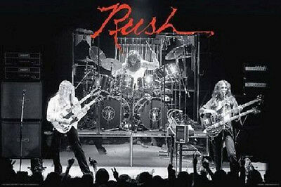 Rush Poster Live on Stage fea. Geddy Lee, Alex Lifeson Neil Peart 24x36