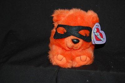 "Trick The Masked Bear Orange NWT Puffkins Plush 4"" Stuffed Lovey Toy"